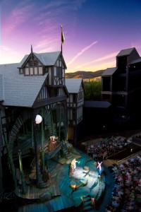 The Oregon Shakespeare Festival's Allen Elizabethan Theatre. Featured is the set of OSF's 2013 production of A Midsummer Night's Dream. Photo by T. Charles Erickson.