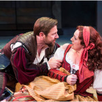 Brian Vaughn (left) as Petruchio and Melinda Pfundstein as Katherine in the Utah Shakespeare Festival's 2015 production of The Taming of the Shrew. (Photo by Karl Hugh. Copyright Utah Shakespeare Festival 2015.)