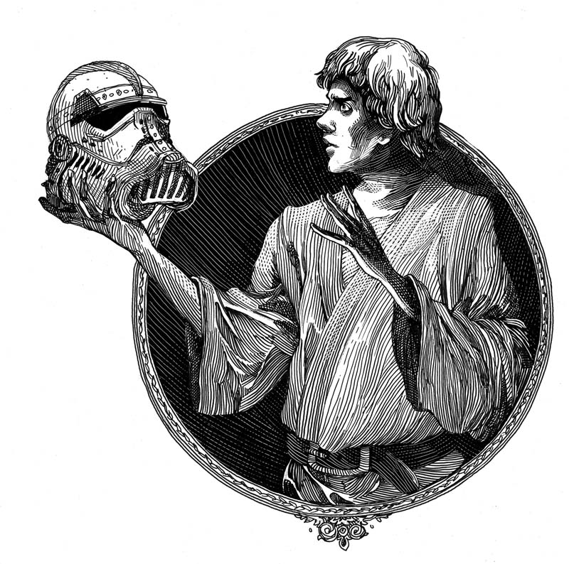 Luke Skywalker strikes an iconic Hamlet pose in this illustration from the William Shakespeare's Star Wars series. Credit Nicolas Delort.
