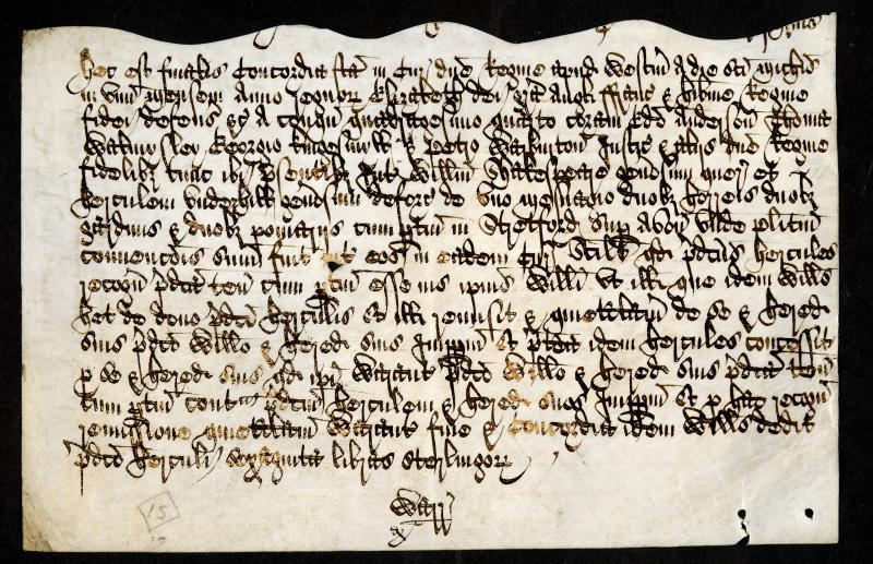 Foot of fine (court copy). Manuscript, 1602. Courtesy The National Archives.