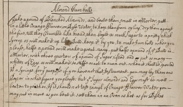 Almond jumball recipe. Manuscript V.a.429. Folger Shakespeare Library.