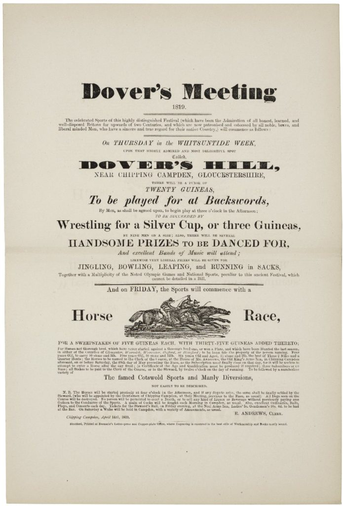 Dover's Meeting 1819 broadside. From Dover's Annalia Dubrensia, a reprint, edited by E.R. Vyvyan. London, 1878. Folger Shakespeare Library.
