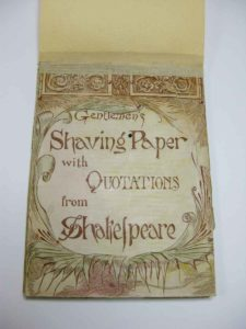Shaving paper with quotations from Shakespeare