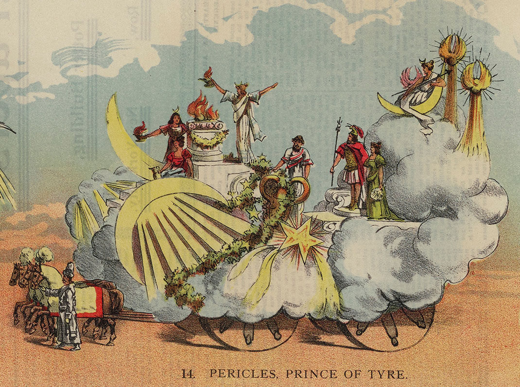 shakespeare scenes on mardi gras floats in 1898 new orleans to see a zoomable image of the full mardi gras poster the folger s digital image collection