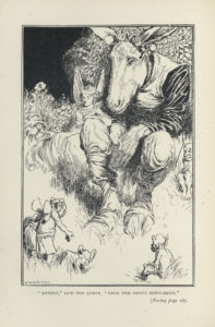 Titania, Bottom, and Fairies. Shakespeare illustration by W. Heath Robinson