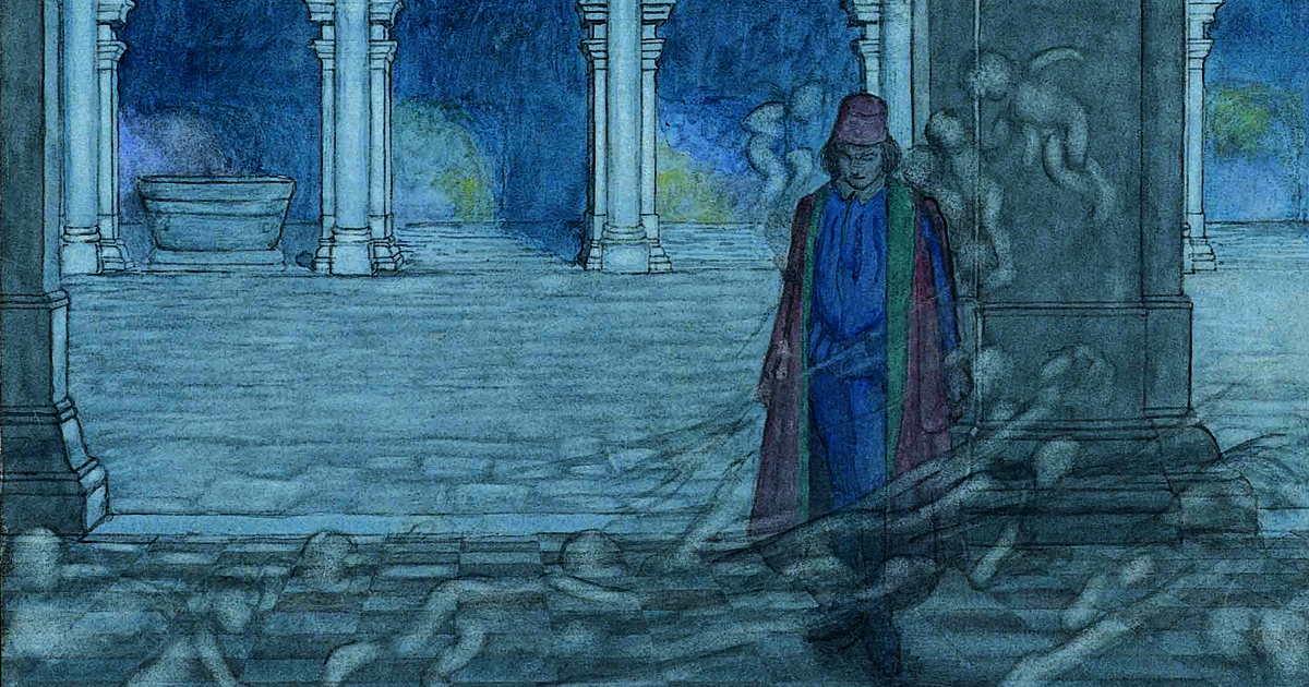 Illustration of Orsino, bewitched by spirits of love