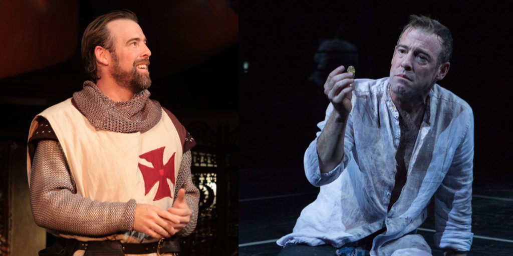 "Ian Merrill Peakes as Iago in ""Othello"" and as Timon in ""Timon of Athens."""