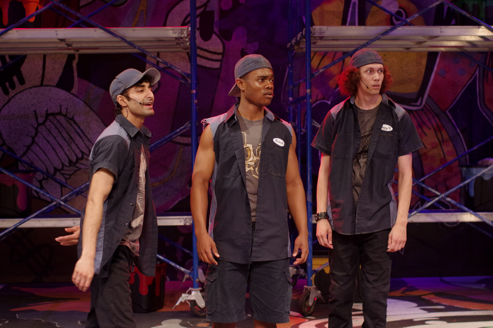 """The Boys. Jesse Bhamrah as Romeo, Christian Strange as Mercutio, and Chris Vizzuraga as Benny V in the Q Brothers' """"I Heart Juliet."""" Illinois Shakespeare Festival. Photo by Pete Guither."""