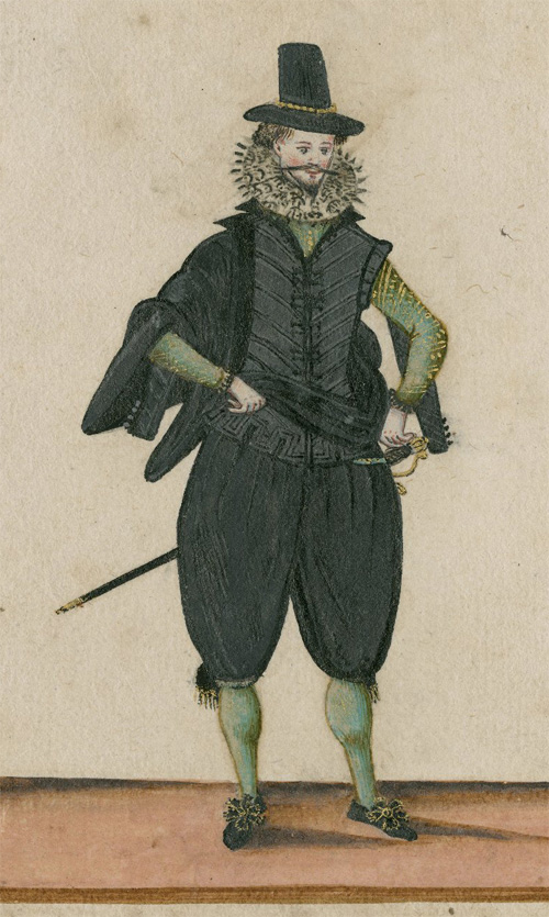 A court costume of the time of James I. Folger Shakespeare Library.