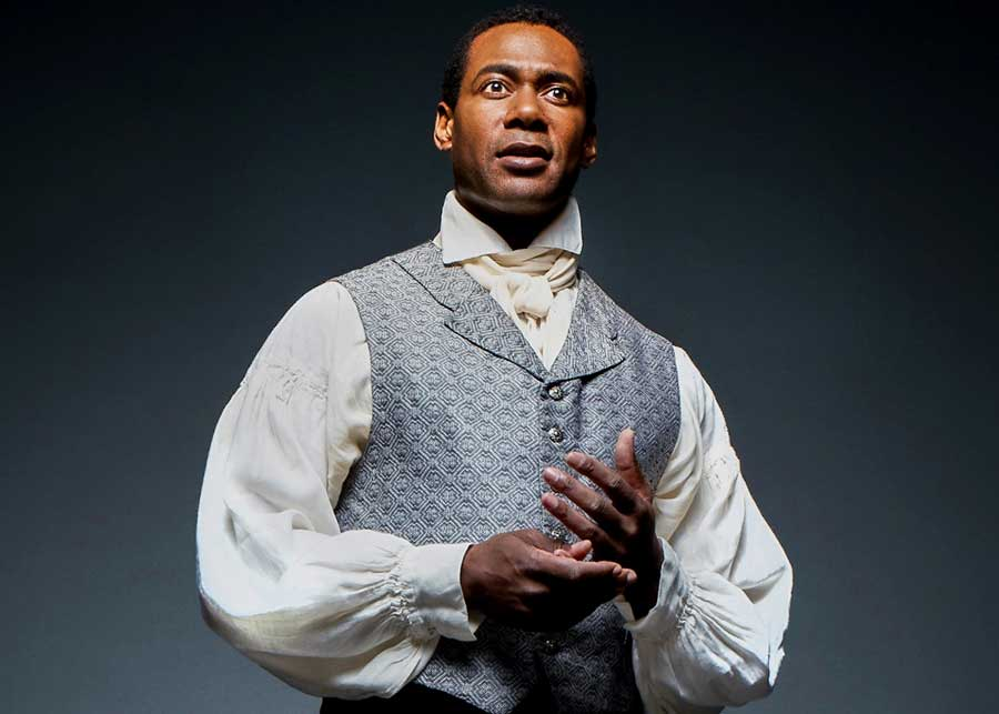 Celebrated Stratford Festival performer Dion Johnstone portrays trailblazing African-American actor Ira Aldridge, whose Othello shocked nineteenth-century London, in Chicago Shakespeare's Red Velvet, directed by Gary Griffin, in the Courtyard Theater, December 1, 2017–January 21, 2018. Photo by Jeff Sciortino.