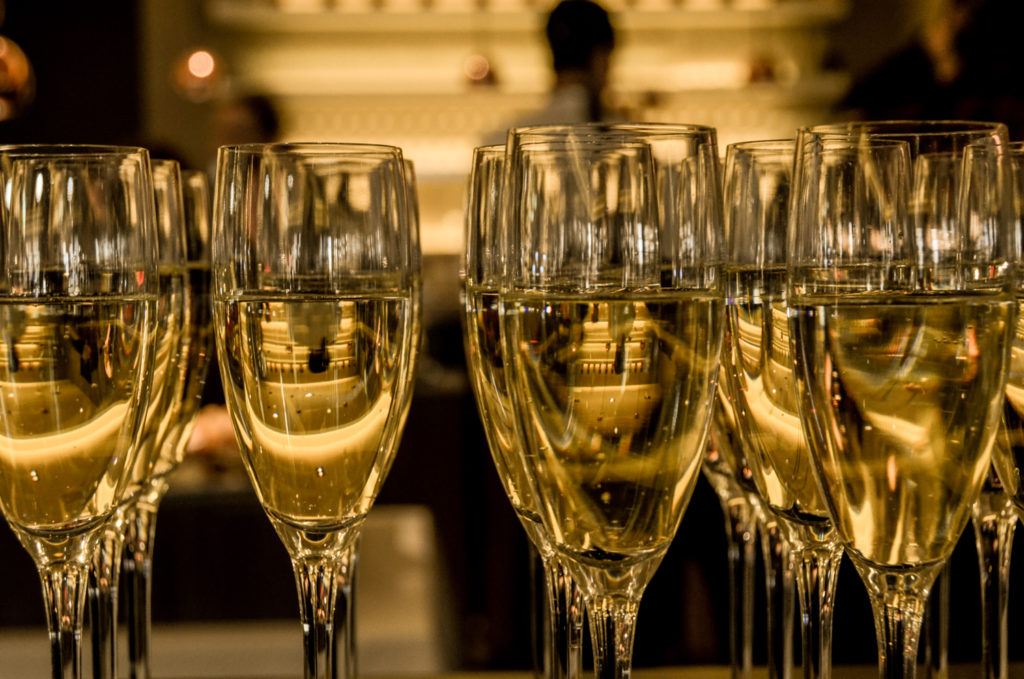 Glasses of champagne for New Year's Eve. Stock image.