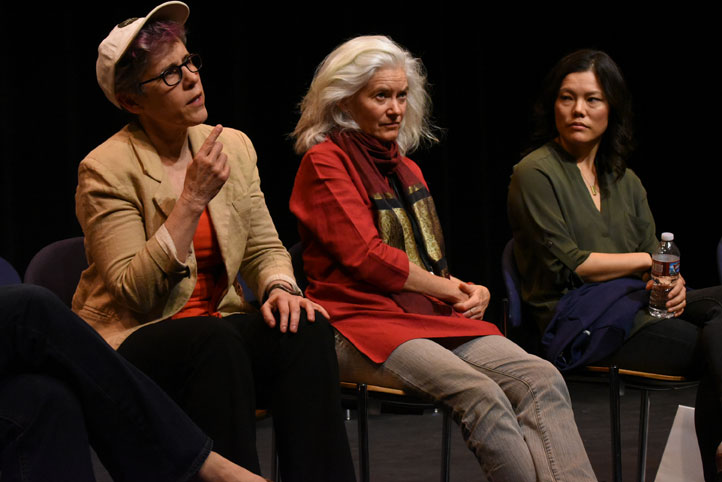 (left-right) Lue Douthit, Elise Thoron, and Desiree Mee Jung in Boulder, Colorado, during a talkback after a staged reading of The Merchant of Venice