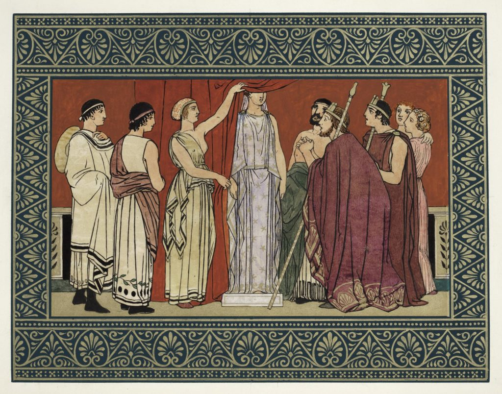 "Illustration of the statue scene from the end of Shakespeare's ""The Winter's Tale,"" by Owen Jones"