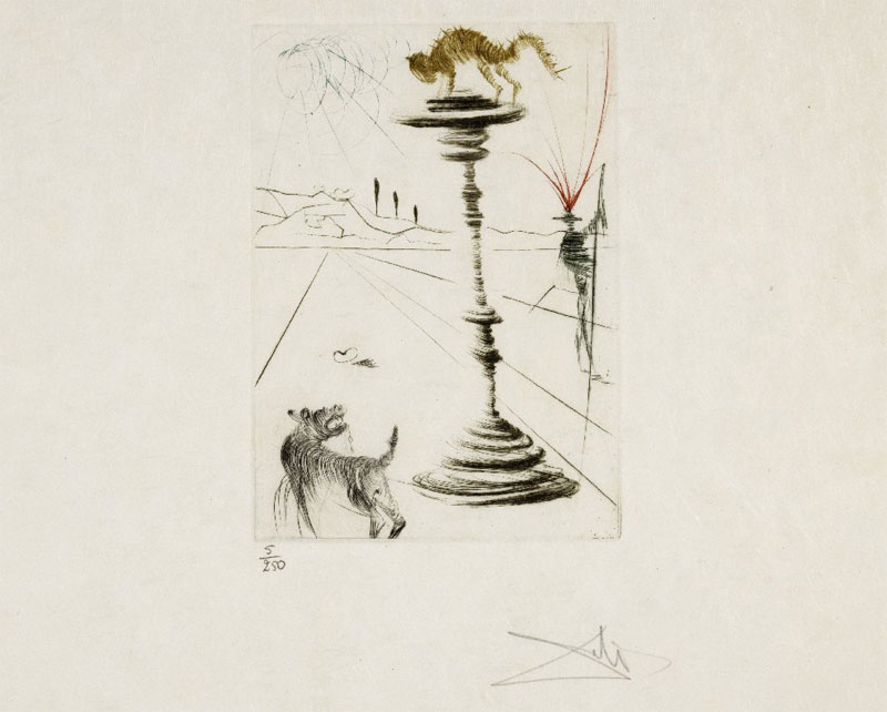 The Taming of the Shrew etching by Salvador Dali