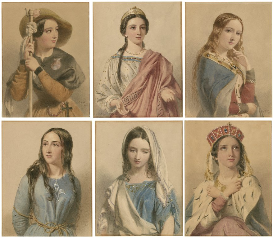 six portraits of women arranged in two rows of three