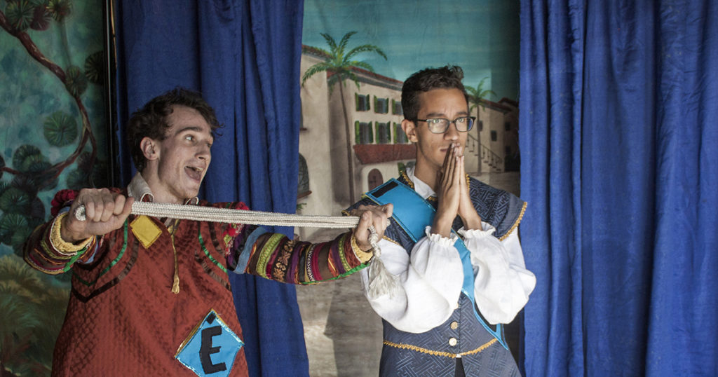 "Evan Held as Dromio of Syracuse and Tiago Santos as Antipholus of Syracuse in San Francisco Shakespeare Festival's touring production of ""The Comedy of Errors."""