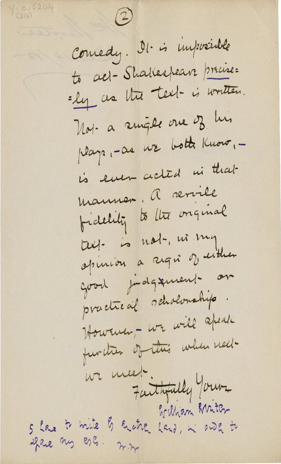 Letter from William Winter to Joseph Francis Daly. December 14, 1885. Folger Shakespeare Library.