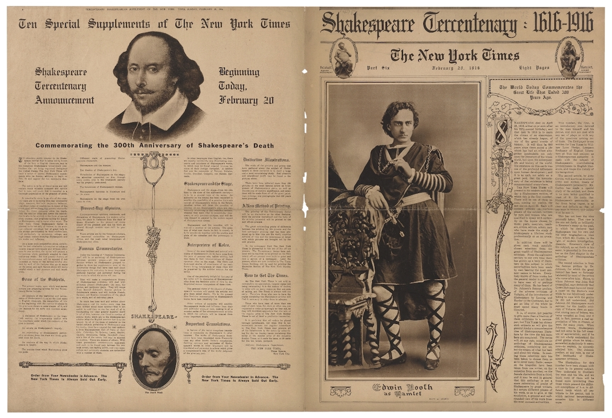 Shakespeare Tercentary edition. New York Times. February 20, 1916. Folger Shakespeare Library.