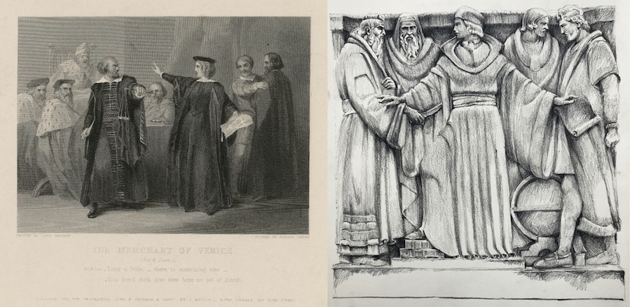 At left: The merchant of Venice. (act 4, scene 1). John Absolon. Etching by Edward Finden. 19th century. Folger Shakespeare Library.