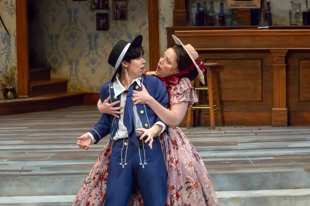 Abby Lee as Olivia and Caitlin McWethy as Viola in Cincinnati Shakespeare Company's 2018 production of Twelfth Night, directed by Austin Tichenor. By Mikki Schaffner Photography.