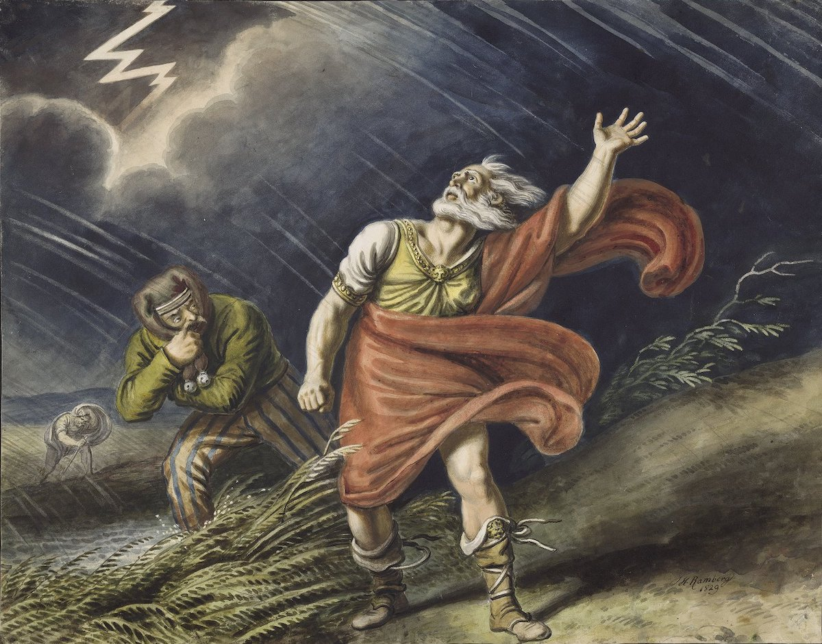 King Lear, shown here in the middle of a storm, is a Shakespeare character associated with madness.