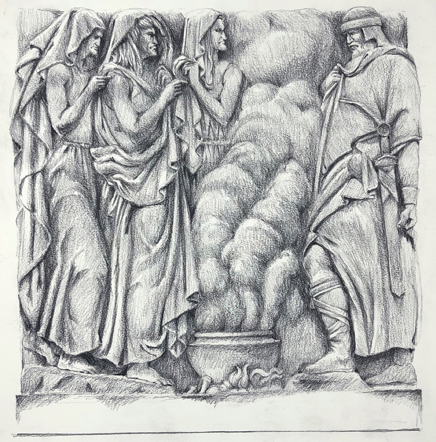 Macbeth bas-relief. Drawing by Paul Glenshaw.