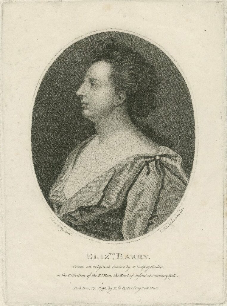 Elizth. Barry, from an original picture by Sr. Godfrey Kneller. Print, 1792. Folger Shakespeare Library.