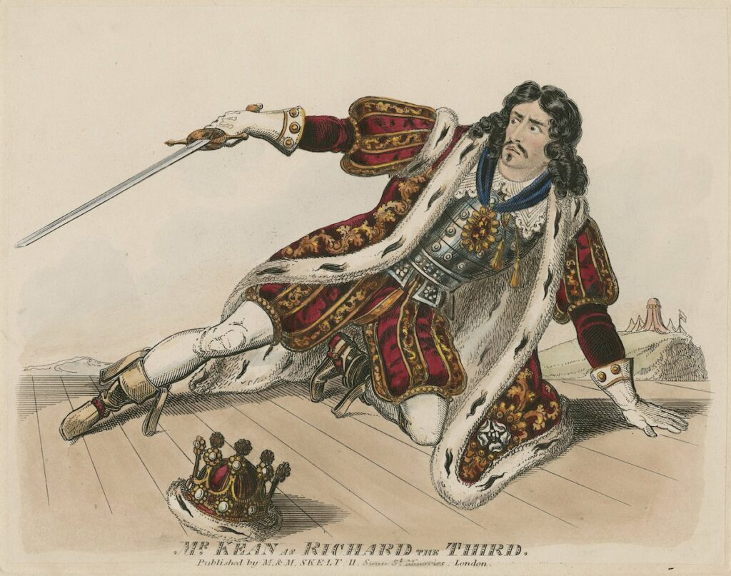"""Mr. Kean as Richard the third."" Published by M. & M. Skelt [between ca. 1837 and 1840]. Folger Shakespeare Library."