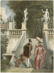 "A man and woman in early modern dress walk up a staircase in a garden. ""Love's Labour's Lost,"" Alexandre Bide, 19th century, watercolor, Folger Shakespeare Library, ART Box B584 no.28."