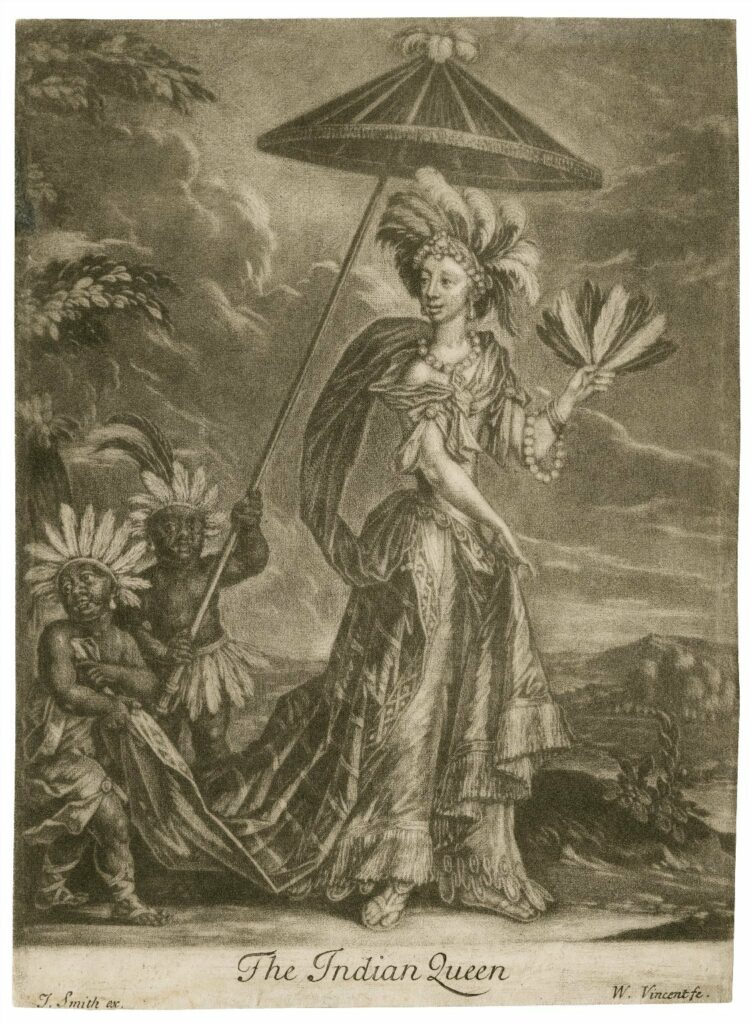 Anne Bracegirdle as Semernia. William Vincent, The Indian Queen. Folger Shakespeare Library.