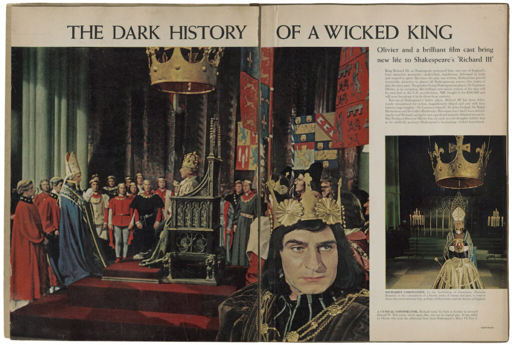 """The Dark History of a Wounded King."" Life magazine. Clipping in a scrapbook, circa 1956. Folger Shakespeare Library."