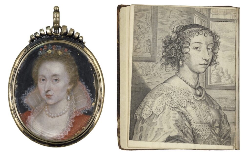 At left: Anne of Denmark. Miniature, circa 1620? At right: Henrietta Maria, frontispiece. The exemplary lives and memorable acts. 1640. Folger Shakespeare Library.