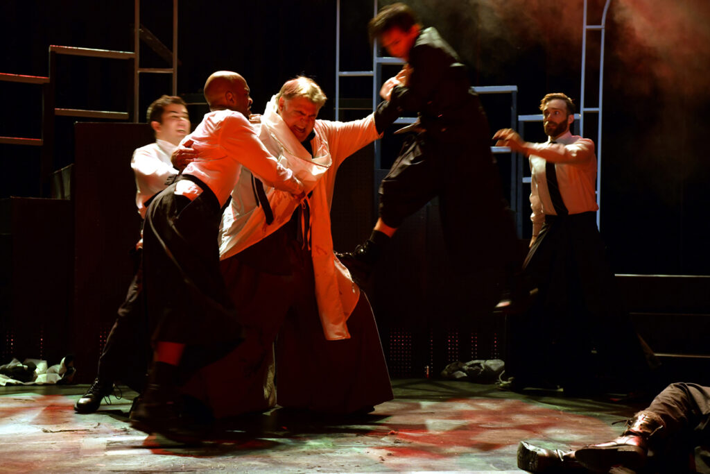 "The assassination of Caesar. (L – R) Matthew Cruz Benenson, Jordan Gleaves, Chuck Wagner, Josh Inocalla, and Christopher Joel Onken. Julius Caesar,"" Nashville Shakespeare Festival. Photo by Rick Malkin."