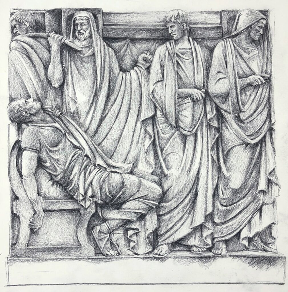 Julius Caesar bas-relief. Drawing by Paul Glenshaw.