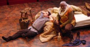 "Seamus Miller as Prince Hal with Gregory Burgess as Sir John Falstaff in ""Henry IV, Part 1,"" Chesapeake Shakespeare Company. Photo by Brandon W. Vernon."