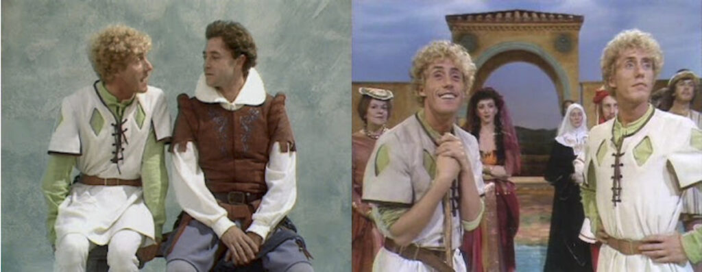 BBC. The Comedy of Errors, 1983. The BBC Television Shakespeare. Michael Kitchen as the Antipholi and Roger Daltrey as the Dromios.