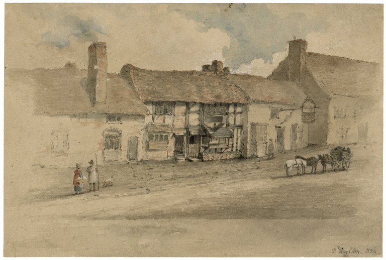 Dighton, sketch. Exterior of Shakespeare's house (1834). Folger ART Vol. d61 no.22a