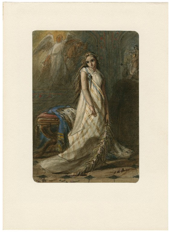 Criddle, watercolor. Ophelia. Folger ART Box C928 no.1