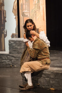 "Lexi Chipman (Juliet) and Rafael Molina (Romeo) in ""Romeo and Juliet,"" Seattle Shakespeare Company, 2017. Photo: Spencer Bertelsen."