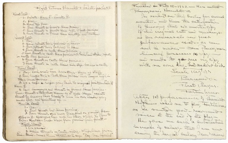 A promptbook for a Hamlet production with John Barrymore