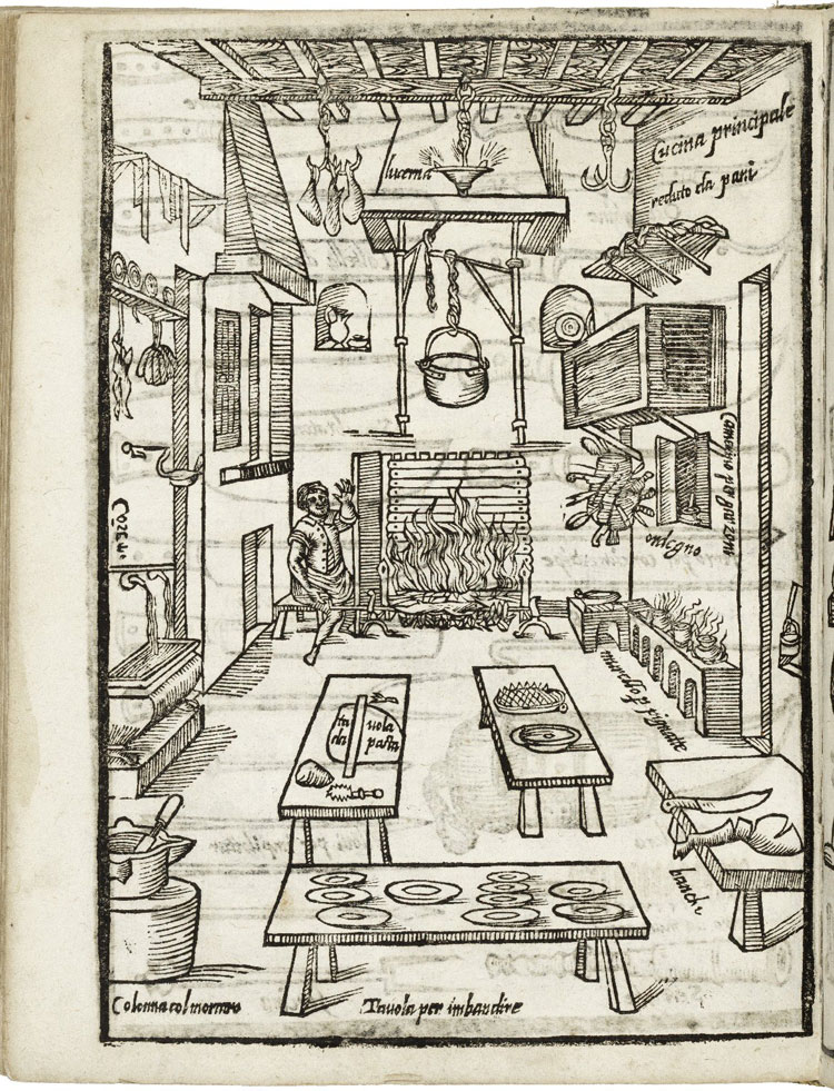 Woodblock print illustrating the proper set up of a kitchen
