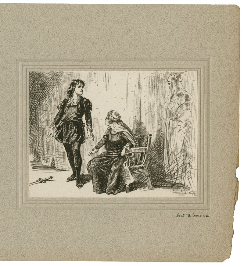 1899 drawing by J. E. Pawsey of a scene from Hamlet