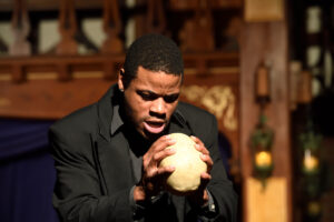 Terrance Fleming as Hamlet in Hamlet at Baltimore Shakespeare Factory. Photo: Will Kirk