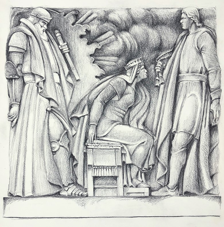 Drawing of Hamlet bas relief on Folger Shakespeare Library building exterior