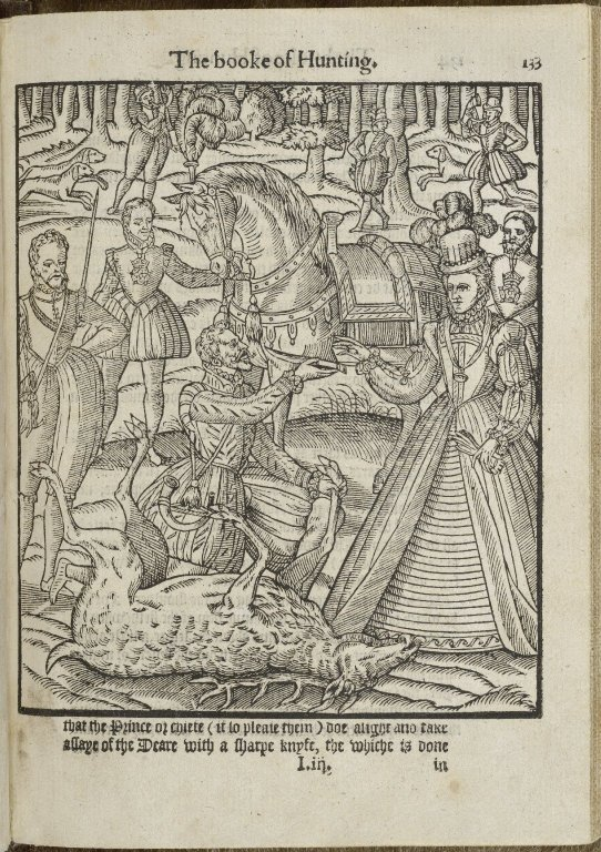 A woodcut showing Queen Elizabeth I engaged in deer hunting