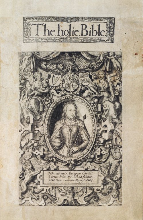 Title page from 1568 Geneva Bible showing Elizabeth I