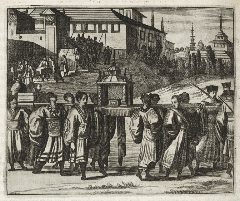 Letter and presents from Chinese Emperor being delivered to Dutch merchants