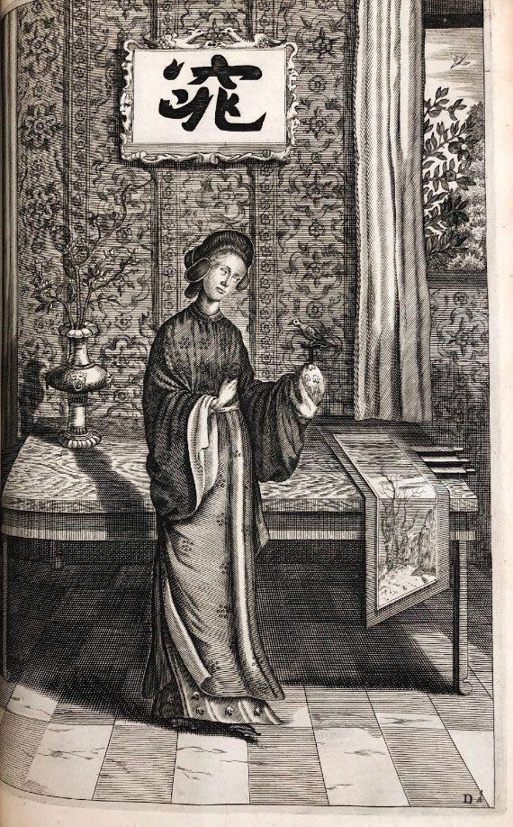 Chinese woman with bird and scroll