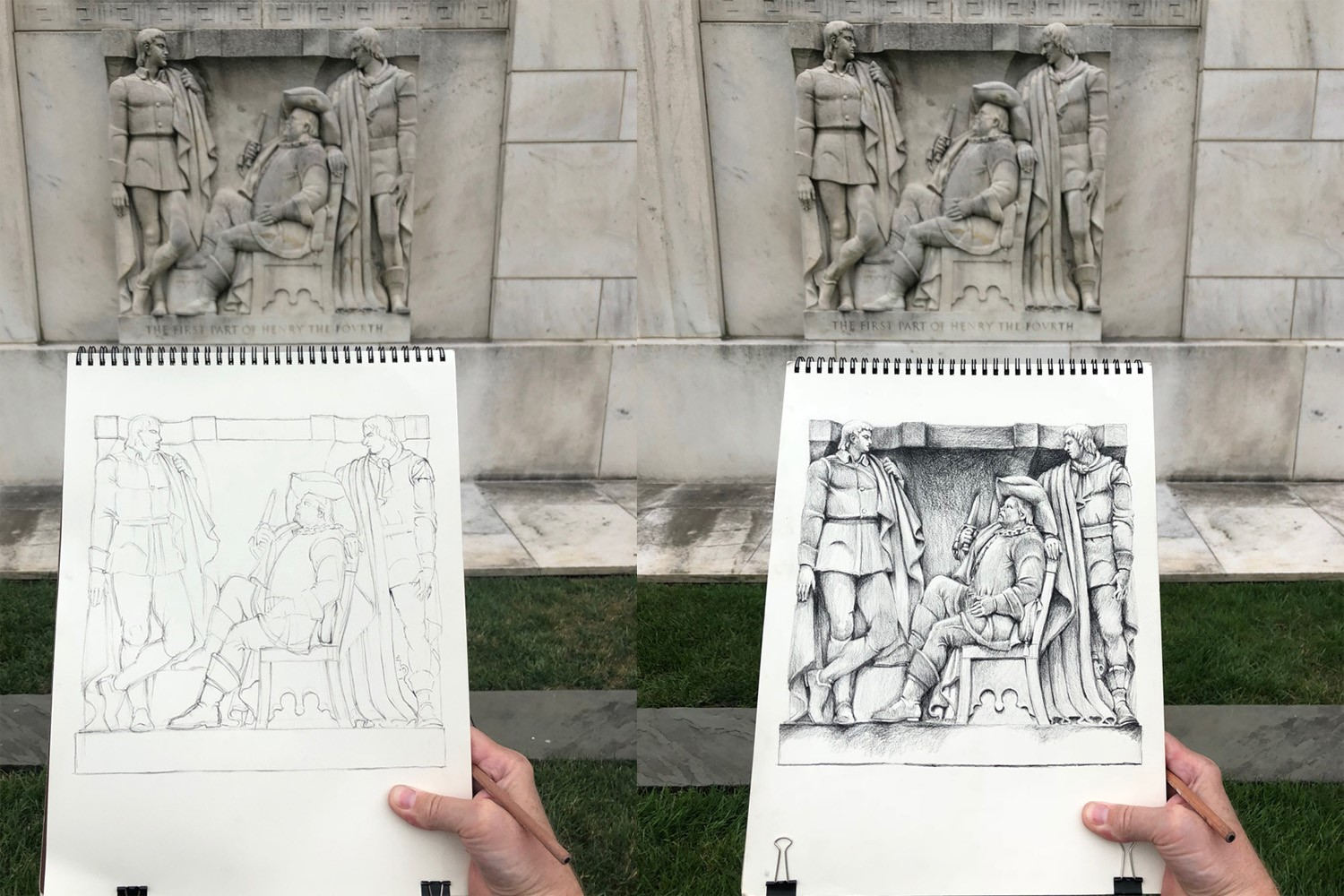 Drawing by Paul Glenshaw of the Folger bas-relief depicting a scene from Henry IV, Part 1