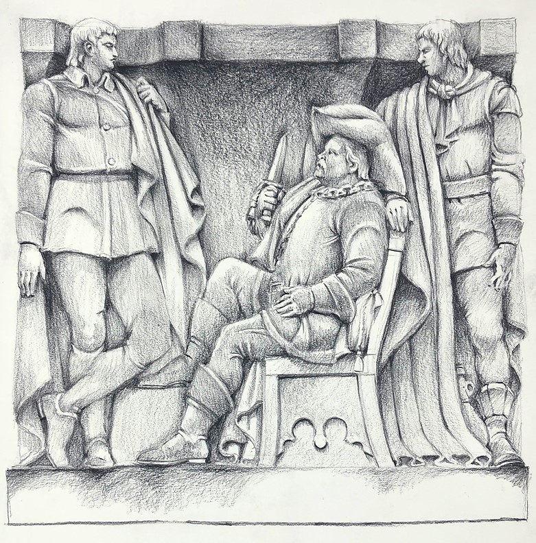 Drawing of the Folger bas-relief depicting a scene from Henry IV, Part 1
